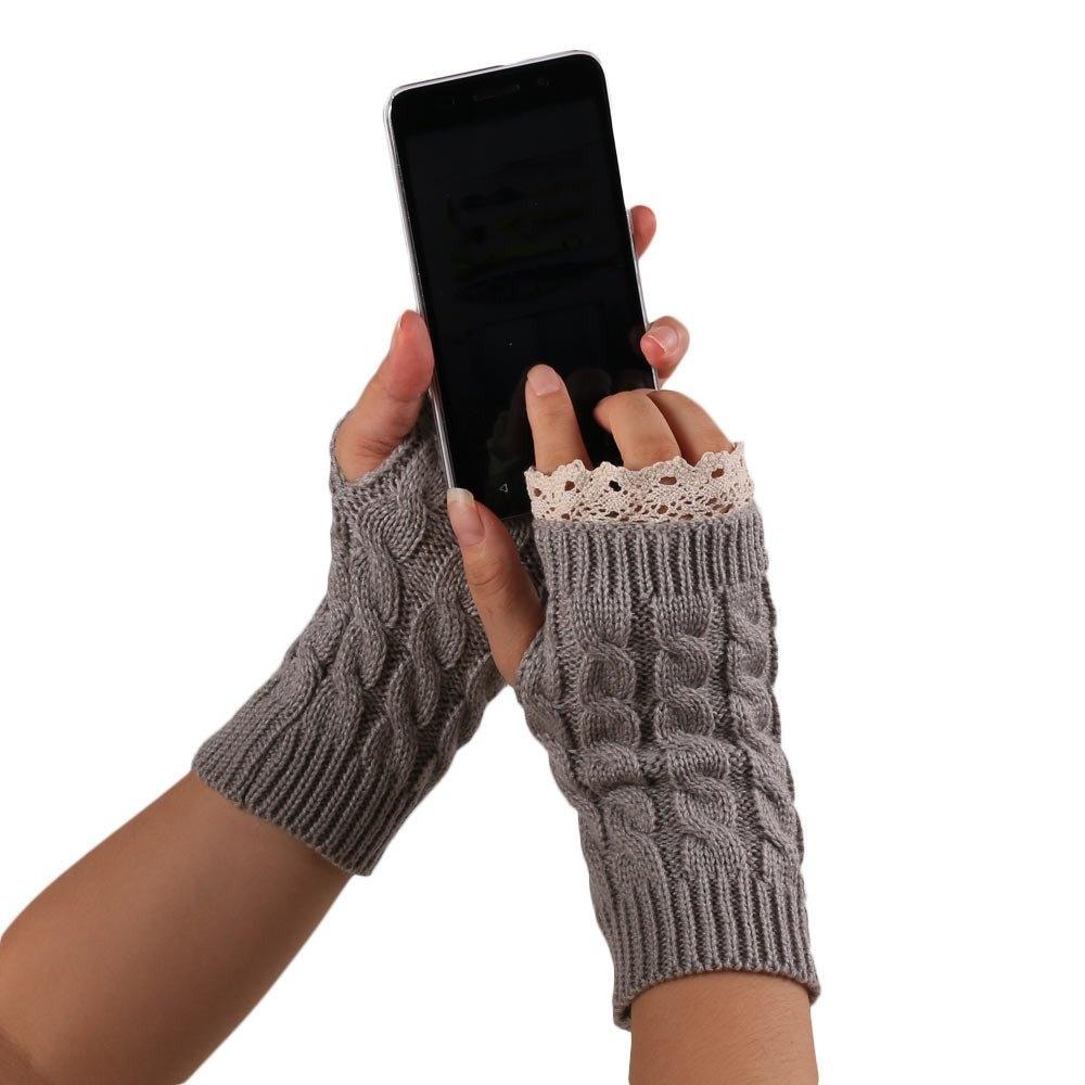 Knitted Fringe Warm Gloves Grey - thumbnail