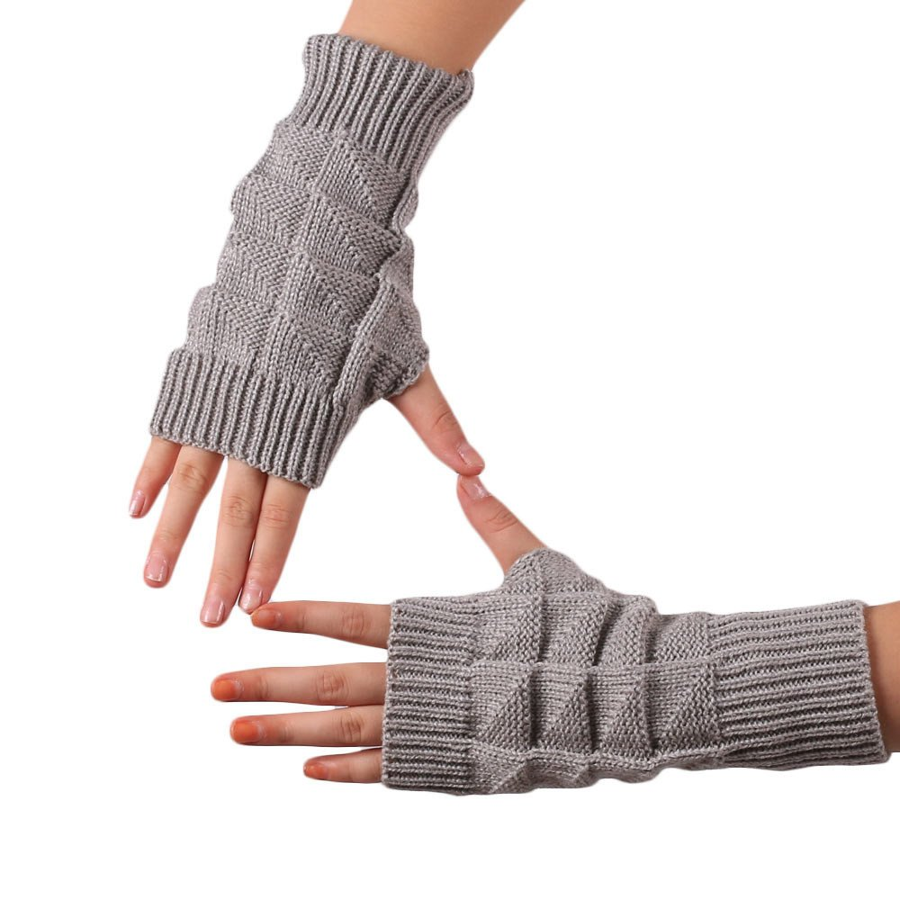 Knitted Fringe Warm Gloves Grey - thumbnail
