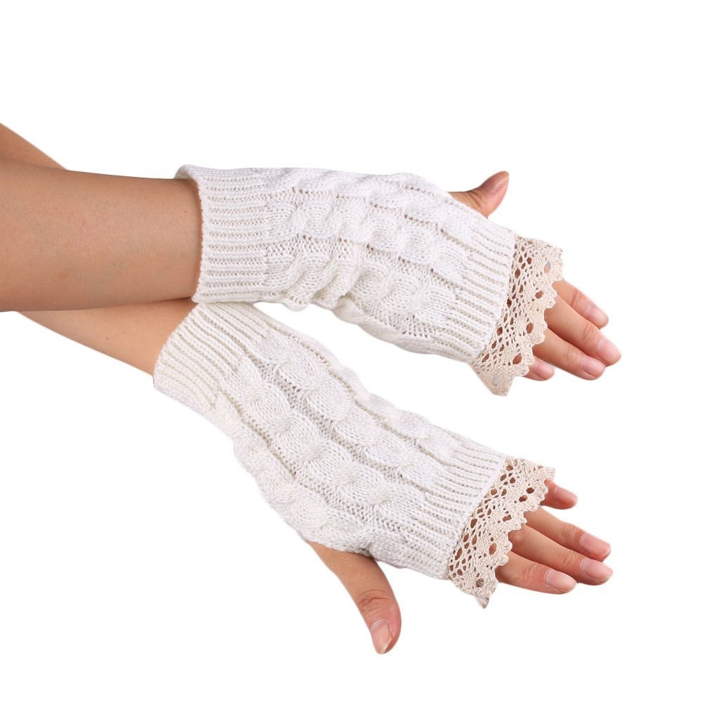 Knitted Fringe Warm Gloves White product preview, discount at cheapest price