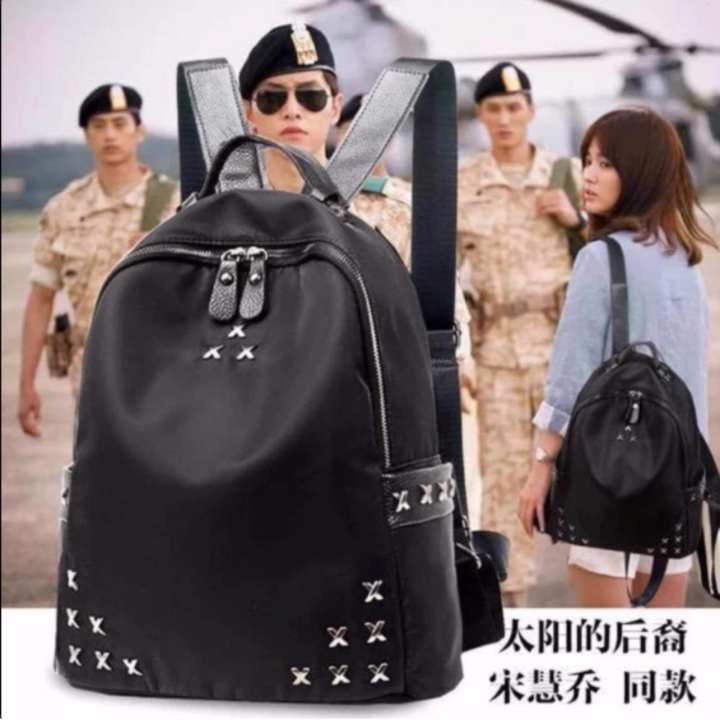 A3-4 1010 =ABS=Korean Mini BagPack (Black) With X metals design accesories