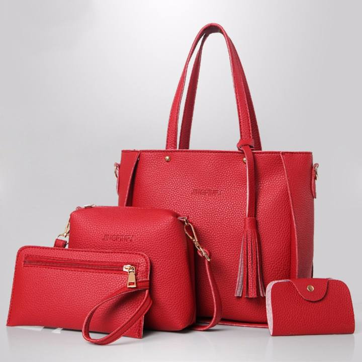 J&C Korean style 4 in 1 Jingpin PU Leather Shoulder Bag Set (Red)
