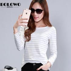 20c767a6a53 BOLOWO Pure Cotton Spring Korean Style BLACK WHITE Thin Stripe Long Sleeve  Crew Neck Half-sleeve