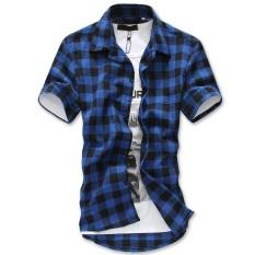 b8553f0aa81 Summer New Style Men s Wear Korean Style Fashion Slim Fit Men Pure Cotton  Short Sleeve Plaid