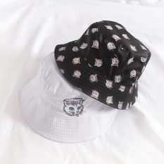 Korean Style Printed Embroidered Catmi BLACK WHITE Double-Sided Bucket Hat  Fisherman Men And Women Spring 8af99da960