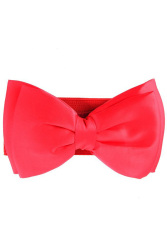 LALANG Bowknot Elastic Wide Waistband Belt Red