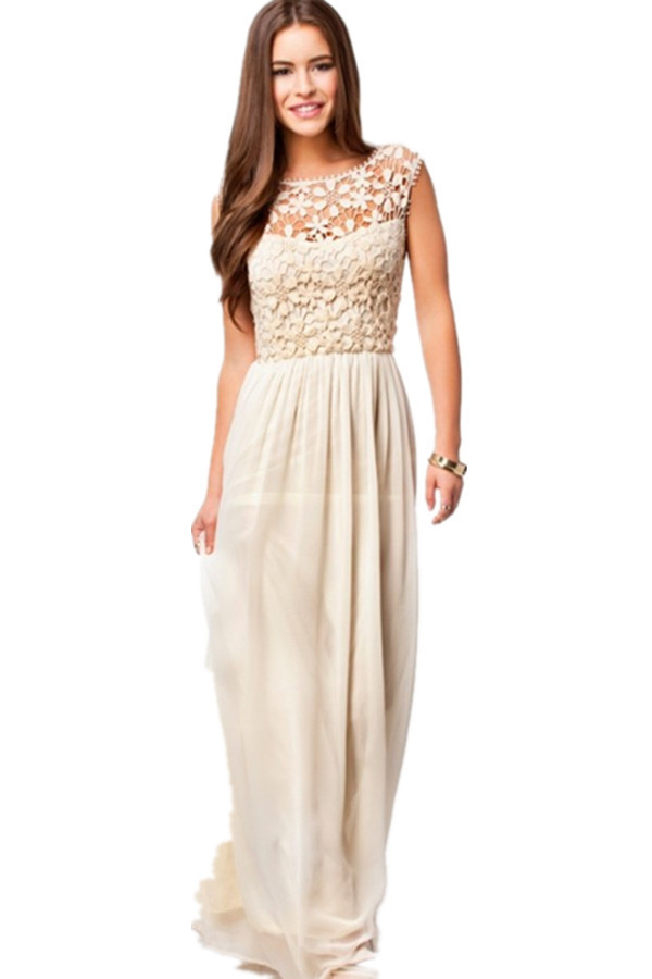 LALANG Floral Pattern Lace Crochet Chiffon Dress (Beige) - thumbnail