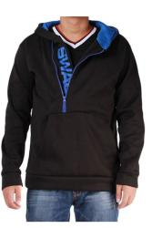 LALANG Men Casual Hoodies Outwear Slim Fit Jacket Black and Blue