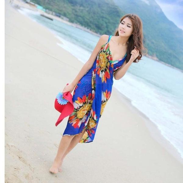 Đồ Bơi Nữ Deep V Quấn Vải Voan Đồ Bơi Bikini Che Đi Biển Đầm Sâu V Backless Quấn Hoa Vải Voan Che Đi Biển Sarong-Intl
