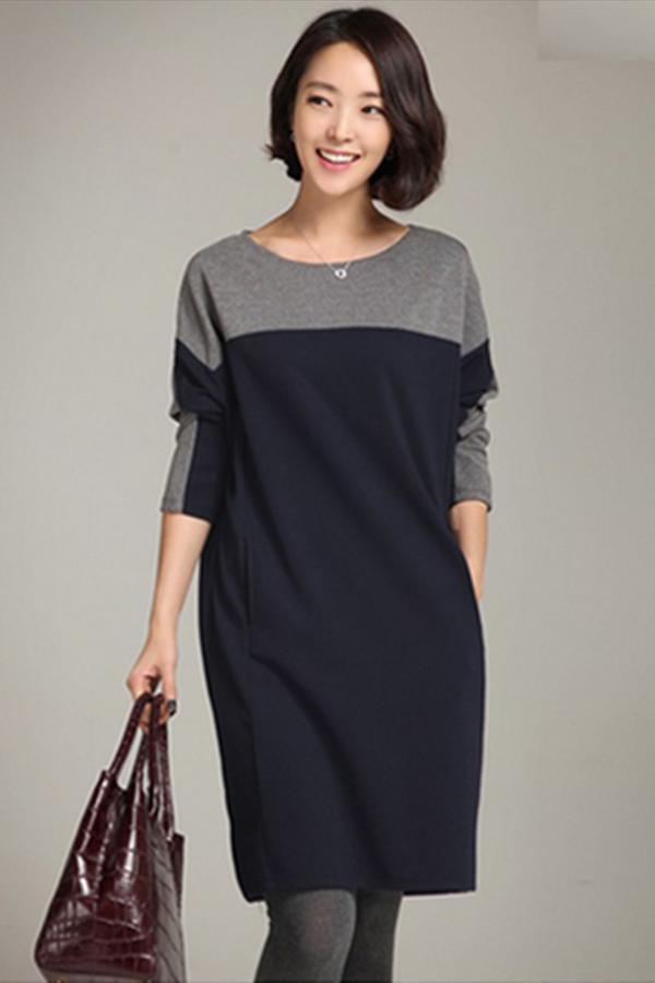LALANG Women Korean Stitching Loose Dress Bottoming Shirt Navy - thumbnail