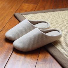 LALANG Women Men Girls Soft Bottom Floor Stripe Home Slippers (Beige) - intl