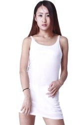 LALANG Women Sexy Suspenders Skirts Pencil Dress (White)