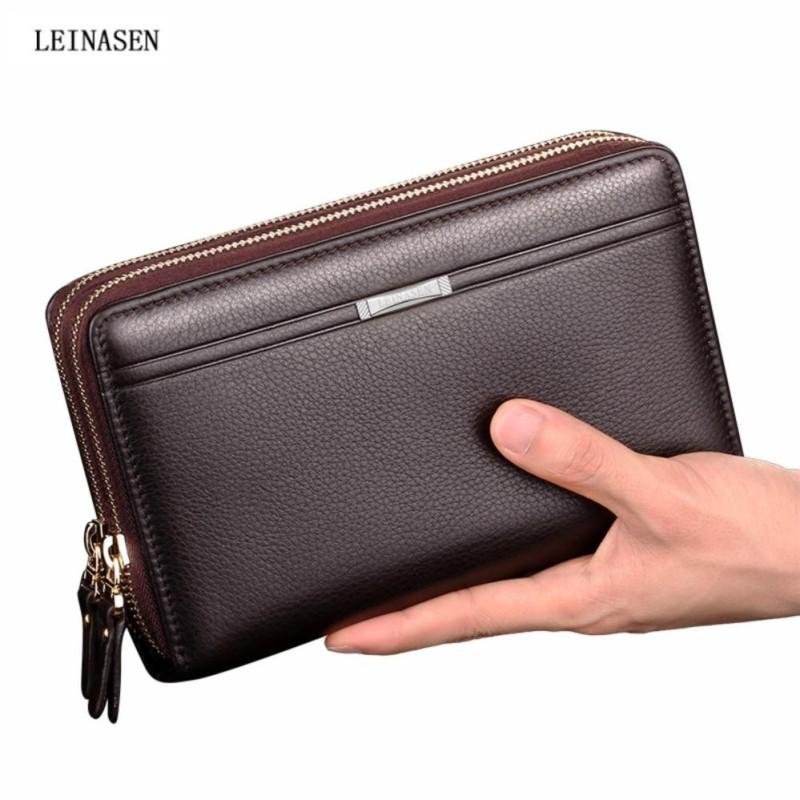 7dc911505354 Leinasen Business Men Wallets Long PU Men s Leather Cell Phone Clutch Purse  Handy Bag Black Top
