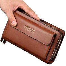 Leinasen Men Wallet Leather Handbag Clutch bag Business Double Zipper Long Card Holder Phone Purse -