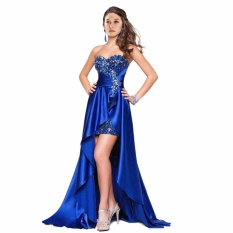 Leondo Blue Long Prom Dress Sweetheart Neck Line Back Lace Up Soft Light Satin With