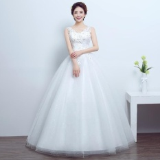 Leondo Ivory Floor Length Bridal Gowns V Neck Lace Liques Wedding Dress Intl