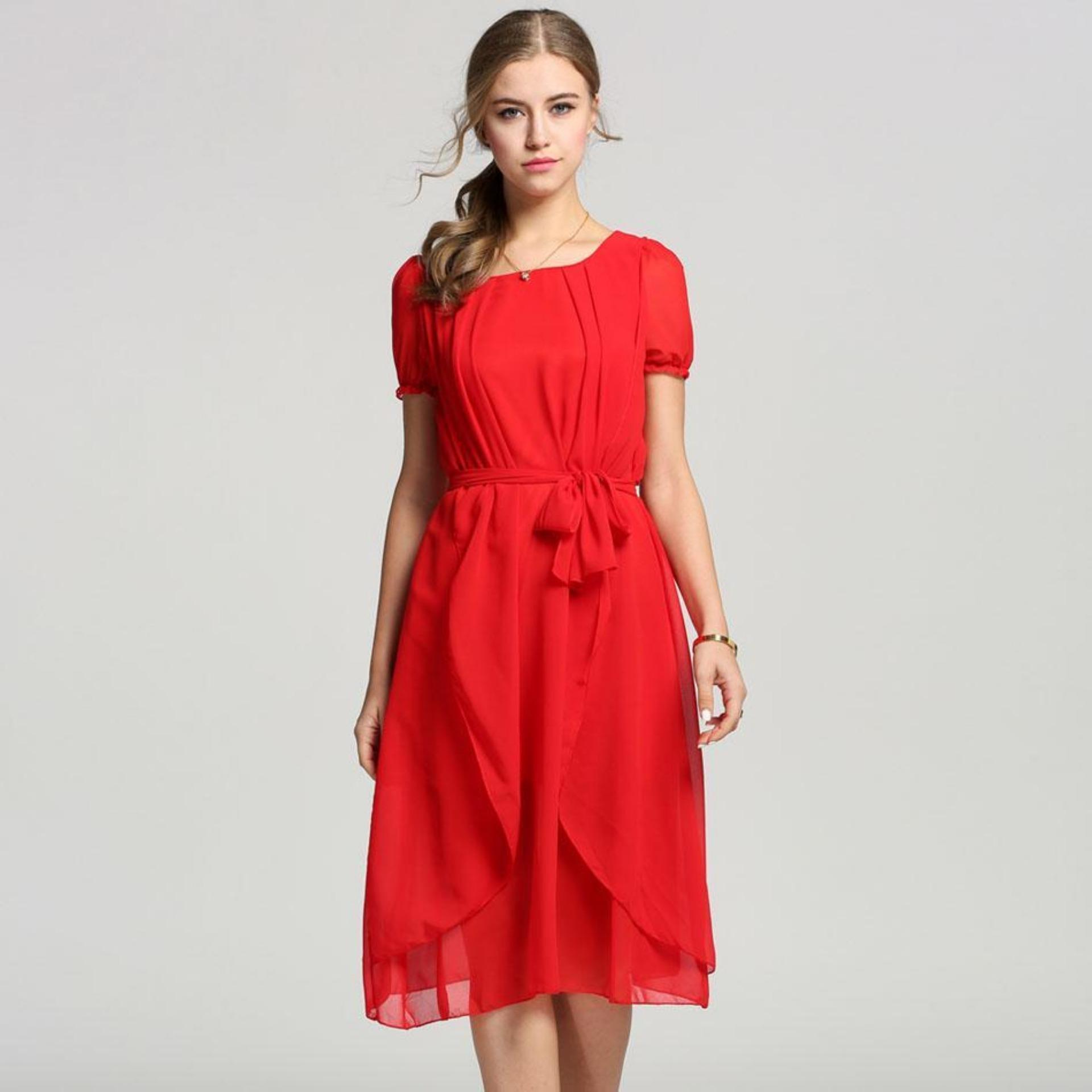 Linemart Bohemian Chiffon Dress (Red) - thumbnail