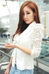 Linemart Sheer Lace OL Formal Slim Top Coat (White)