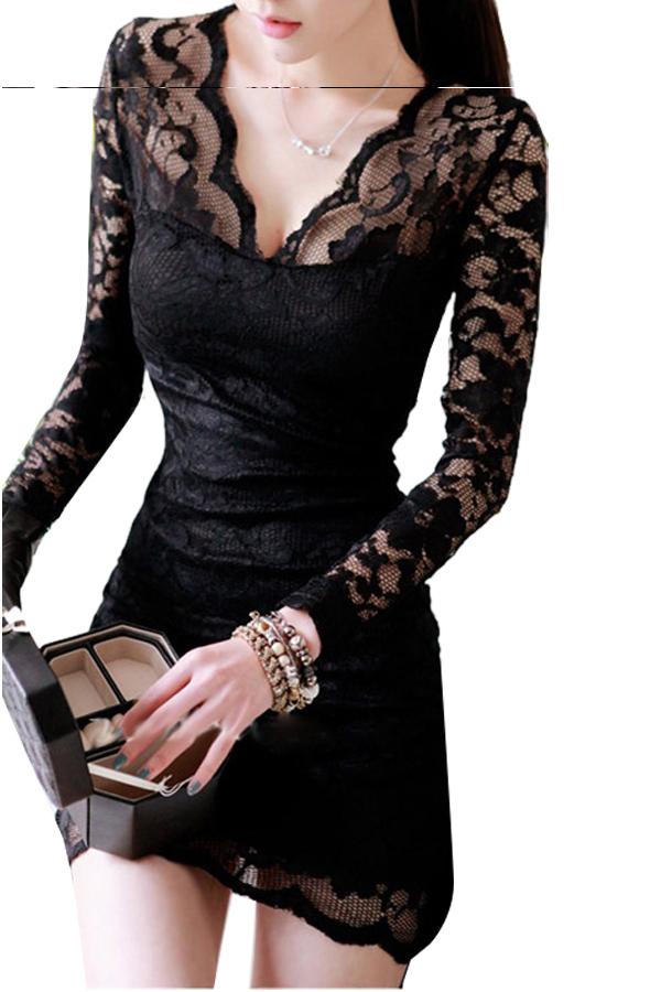 Linemart V-neck Long Sleeve Lace Mini Dress Black - thumbnail