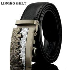 b09a8c41dbd84 LINGHOBELT 2017 Fashion Real leather belt men male waistband bronze buckle designer  mens belt Business luxury