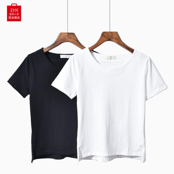 Long summer minimalist female front short solid color Top T-shirt (White)