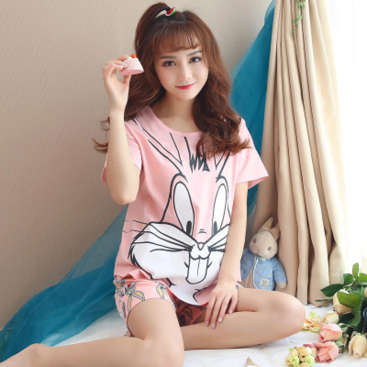 Loose Korean cotton Female Summer pajama Women's sleepwear (H3305 pink Bugs Bunny) (H3305 pink Bugs Bunny)