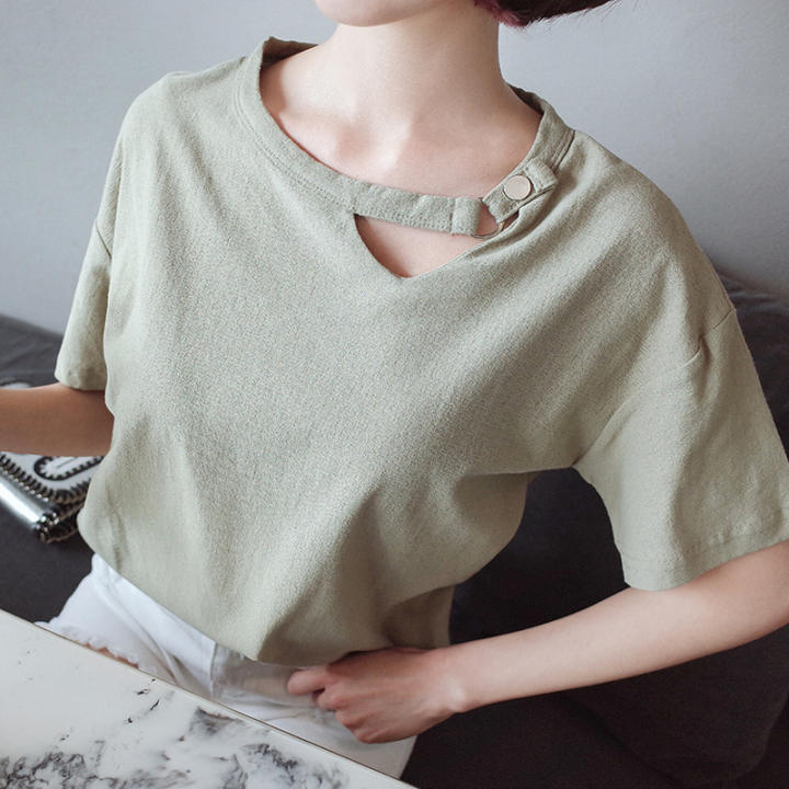 Loose Korean cotton linen plain Plus-sized T-shirt (Green beans color) (Green beans color)