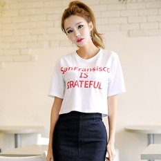 ... 2018 Pure Cotton High waisted Bare Midriff Short women T shirt Korean Style Loose