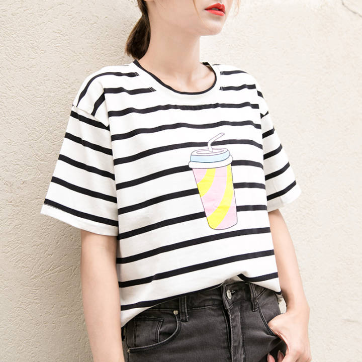 Ulzzang Cotton Short sleeved t-shirt (027 black and white striped)