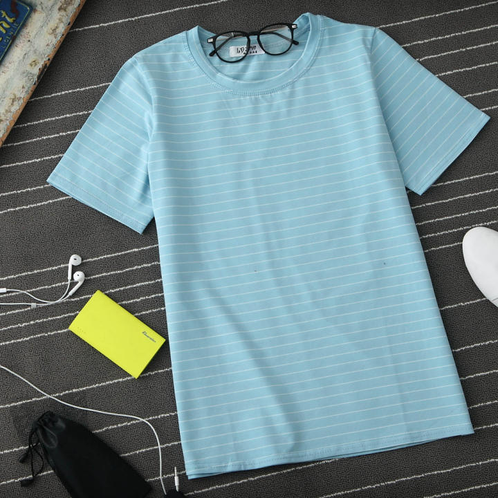 Loose Korean-style solid color cotton short sleeved base shirt striped T-shirt (Sky blue color version2)