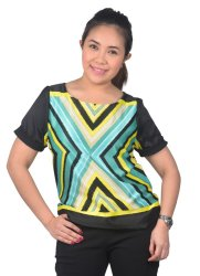 Love My Clothes Printed Satin Blouse (Black/Yellow)