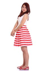 Love My Clothes Stripes Pleated Skirt  (Red/White)
