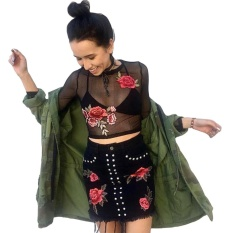 8a6834e9429e87 Clearance Price Sunweb Women Sexy Sheer Mesh Floral Embroidery Long Sleeve T  Shirt Crop Top(