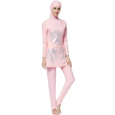 baf205cc21 Make Difference Print Islamic Swim Wear Modest Muslim Swimwear 2 Pieces Muslim  Swimsuit Connected Hijab Burkinis