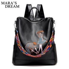 8c85e6978025 Maras Dream PU Leather Embroidery Backpack School Bags For Teenagers Casual  Black Travel Backpack Women Mochila