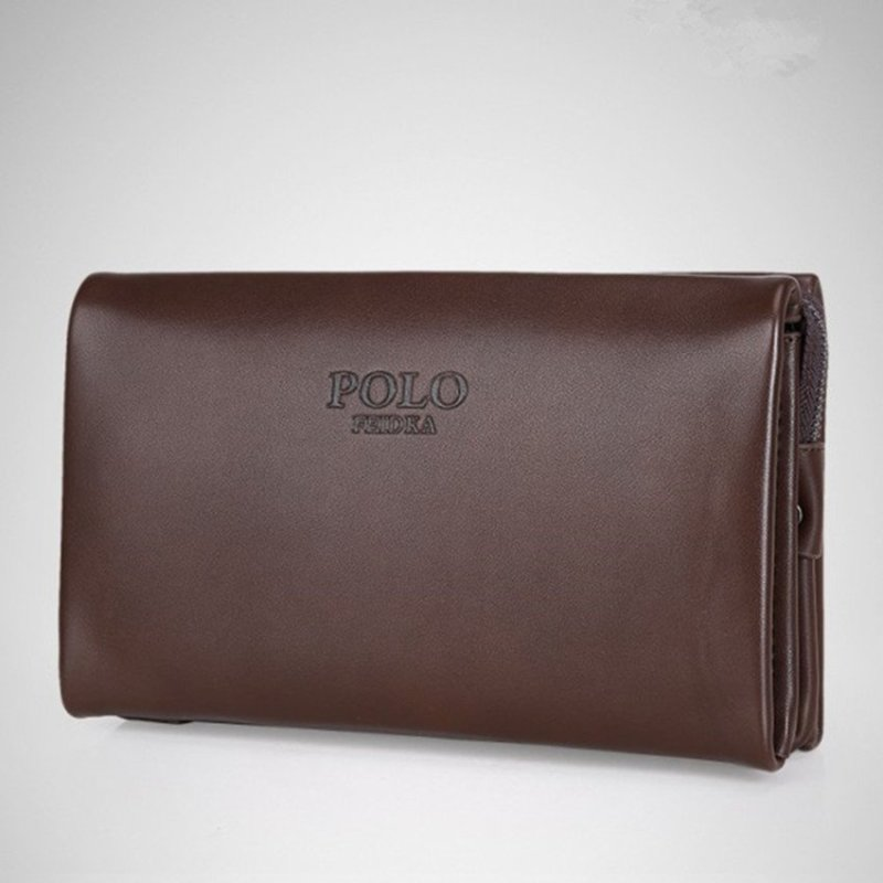 Men Handbag Cowhide Leather Clutch Large Capacity Wallet Casual Wrist Bag Business Purse (Big Size