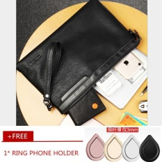 Men Retro Cowhide Leather Business Wallet Leisure Envelope Bag Clutch Casual Handbag Wristlet Wrist Bag Free