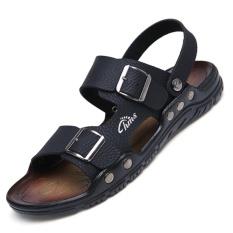 9fa34e892b2 Men Sandals Genuine Leather Sandals Men Fashion Fretwork Soft Fisherman  Brand Shoes Men Slippers Beach Sandals