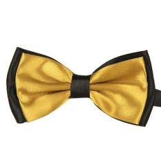 Men Satin Adjustable Bowtie Tuxedo Wedding Bow Tie Necktie Gold - Intl By World Deal.