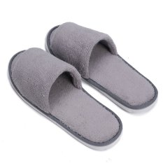 Men Women Coral Velvet Open Toe Hotel Home Spa Slippers Travel Shoes Thick 7mm Grey -