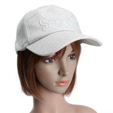 Men Women Mesh Solid Sports Baseball Hat Unisex Visor Adjustable Golf Cap light grey - intl