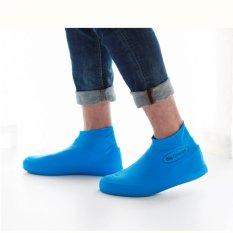 Men Women Outdoor Waterproof Shoe Covers For Sneaker High Quality Latex Overshoes Blue Intl