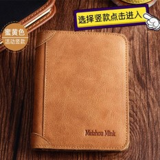 Men's Cow Leather Bifold Wallet Business Short Purse Coffee FlipoutPlug Card Setting - intl