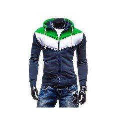 Mens Fashion Sports Cardigan Sweater Coat Korean Slim Navy - Intl By Sircool.