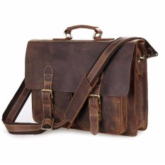 """Mens Genuine Crazy Horse Leather Business Briefcases Tote Shoulder Bag for 15"""" Laptop Bags Brown"""