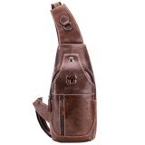 f6d2a19184 Mens Genuine Leather Sling Bag Single Shoulder Bag Men Chest Crossbody  Satchel Waist Pack Color Brown - intl