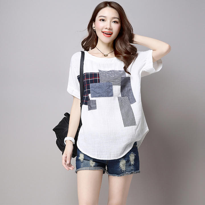 Womens Casual Patched Linen Short Sleeve T-Shirt White Women Clothing Tops Blouse T-Shirts