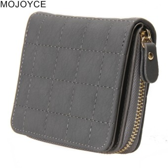 MOJOYCE Women Graphic Short Wallet PU Leather Plaid Purses - intl