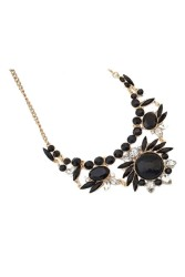 Moonar Crystal Flowers Necklace Black