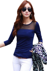 Moonar Lace Mesh Long Sleeve T-shirts Blue