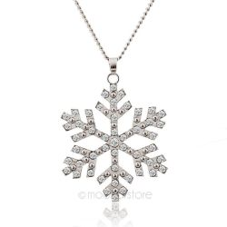 Moonar Snow Flower Pendant  Rhinestones Long Necklace (White)